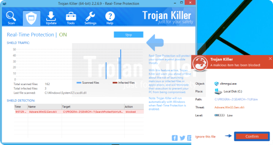 Malicious item blocked by Trojan Killer