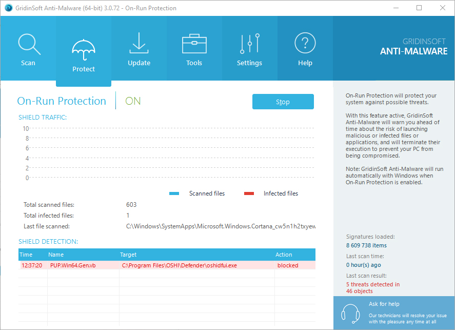 On-Run Protection from malware