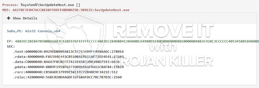 remove SecUpdateHost.exe virus
