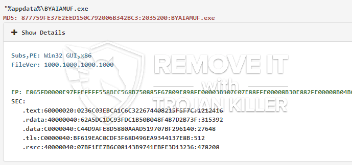 remove BYAIAMUF.exe virus
