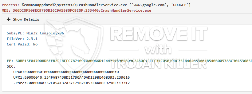remove CrashHandlerService.exe virus