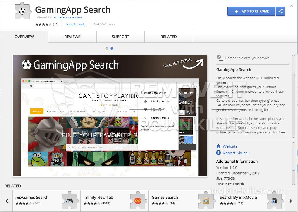 remove GamingApp Search virus