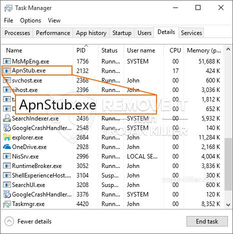 remove ApnStub.exe virus
