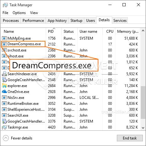 remove DreamCompress.exe virus