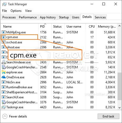 remove cpm.exe virus