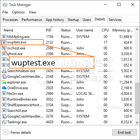 remove wuptest.exe virus
