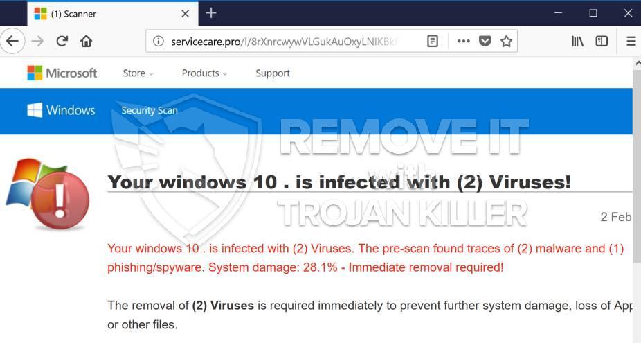 remove Servicecare.pro virus