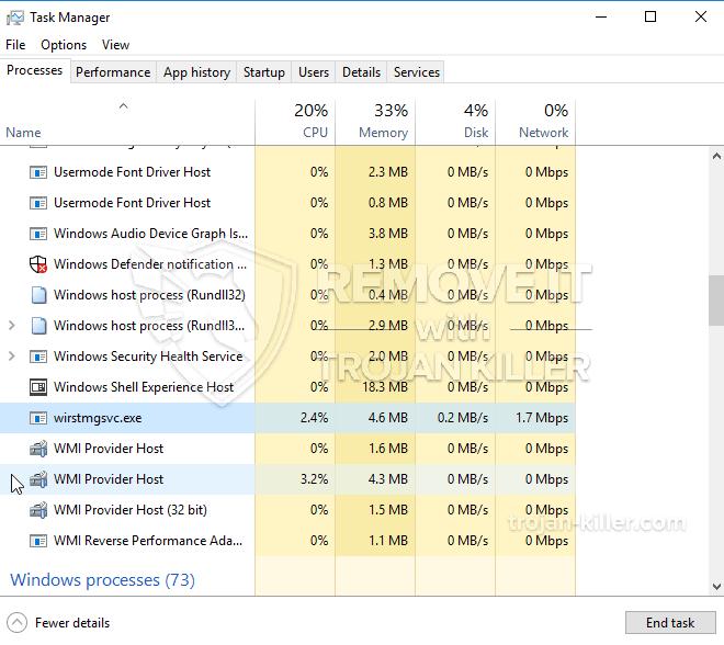 remove Wirstmgsvc.exe virus