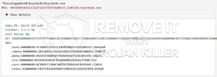 remove bvyvdvdx.exe virus