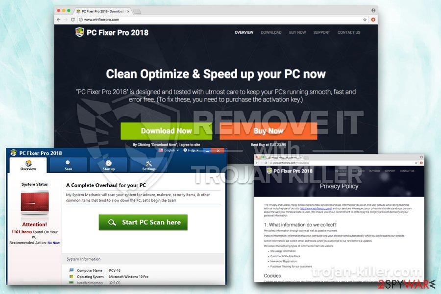 remove PC Fixer Pro 2018 virus