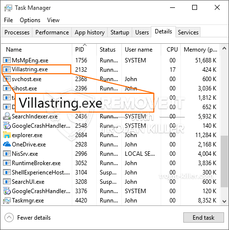 remove Villastring.exe virus