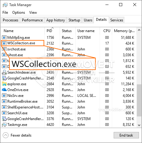 remove WSCollection.exe virus