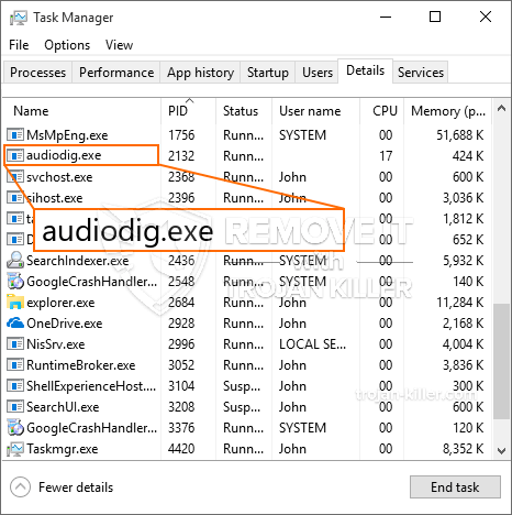 remove audiodig.exe virus