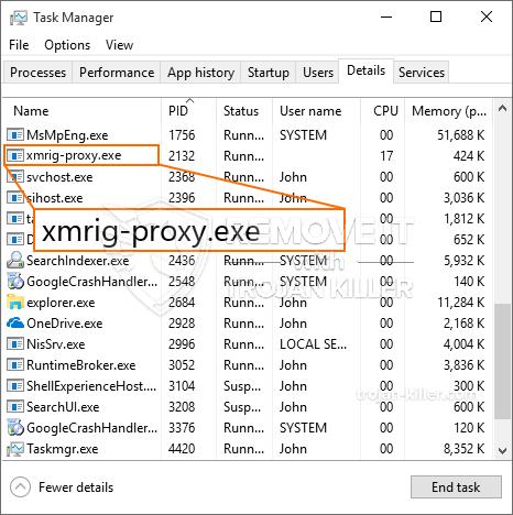 remove xmrig-proxy.exe virus