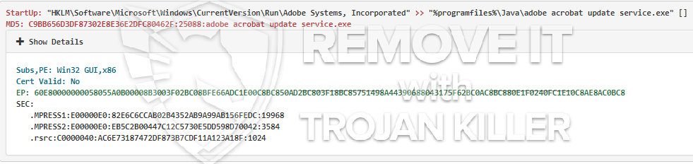 remove adobe acrobat update service.exe virus