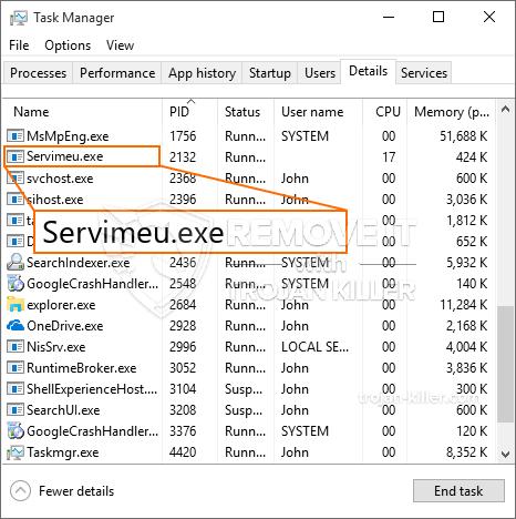 remove Servimeu.exe virus