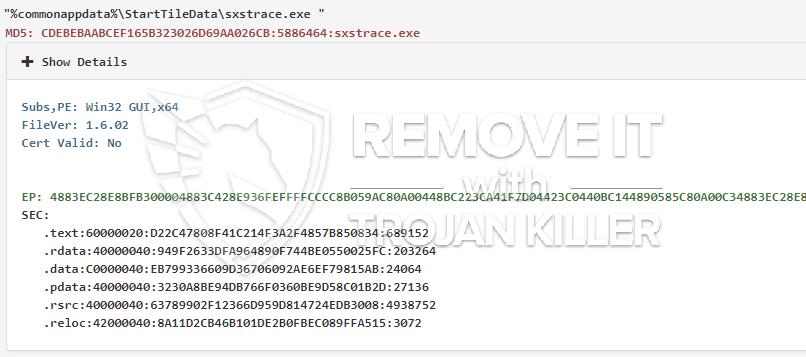 remove Sxstrace.exe virus