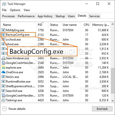 remove BackupConfig.exe virus