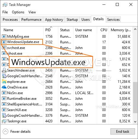 remove WindowsUpdate.exe virus