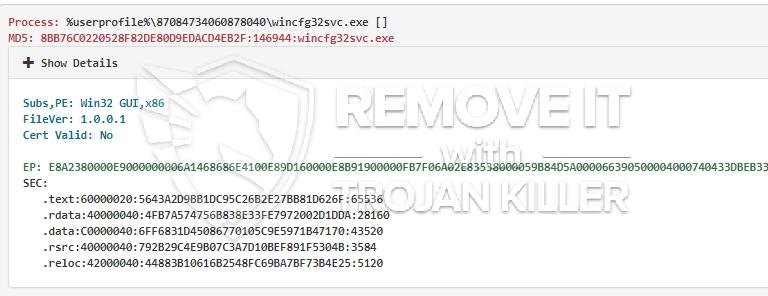 remove Wincfg32svc.exe virus