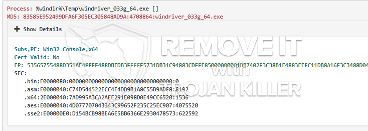 remove Windriver_033g_64.exe virus