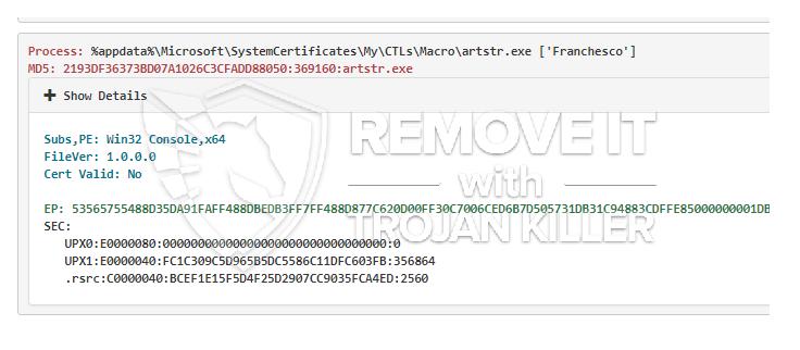 remove Artstr.exe virus