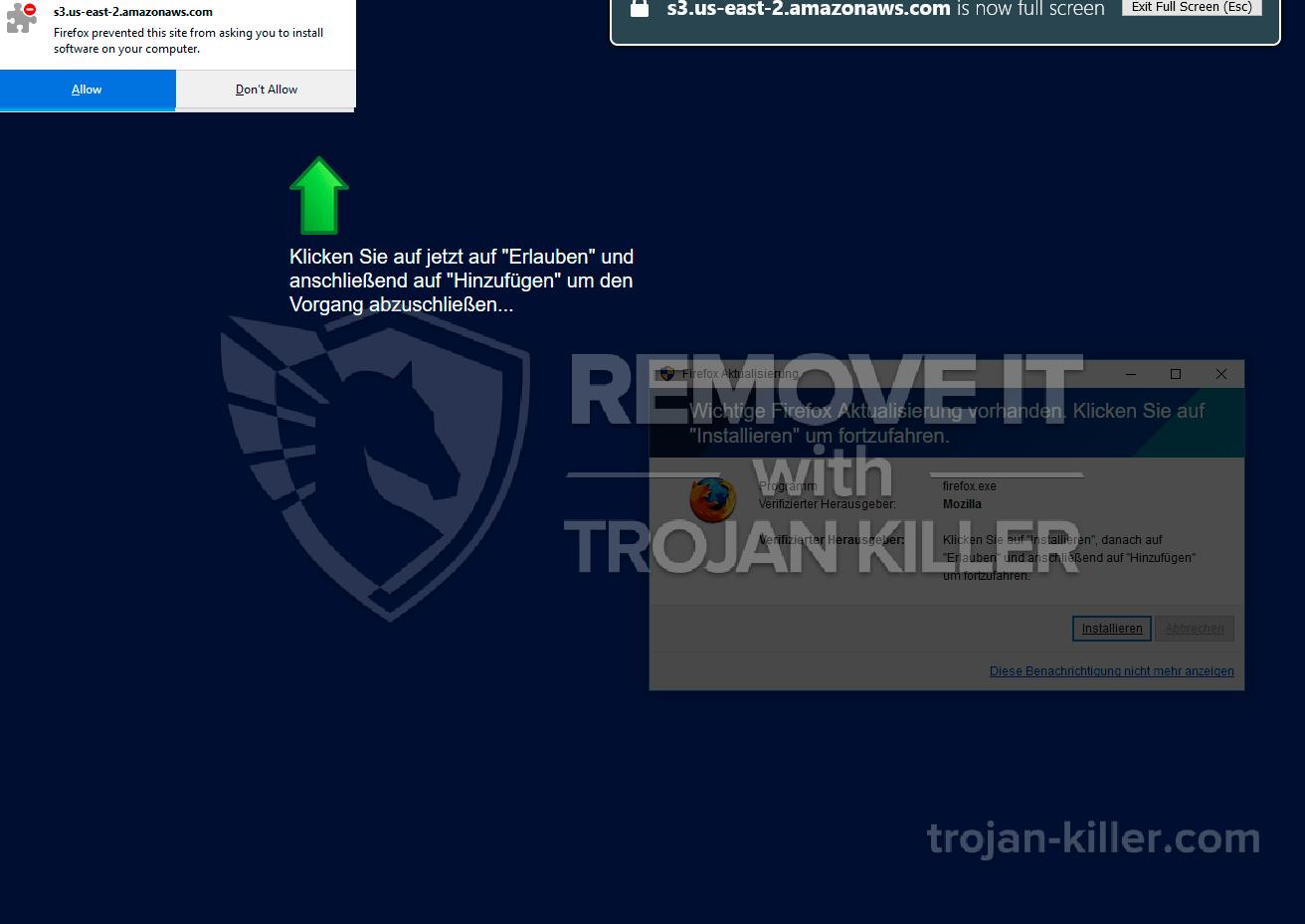 remove Wichtige Firefox Aktualisierung vorhanden virus