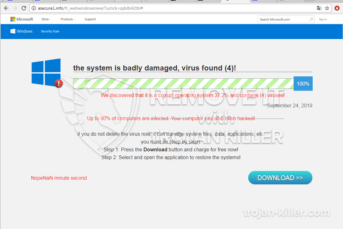 remove The system is badly damaged, virus found (4)! virus