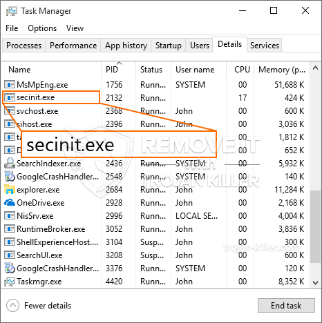 What is Secinit.exe?