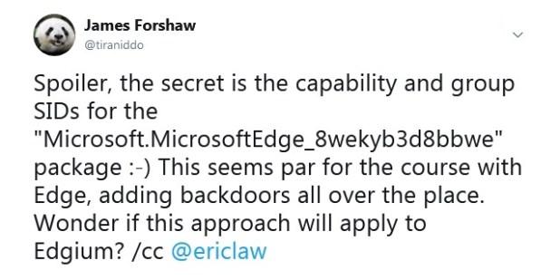 James Forshaw tweet