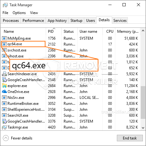 What is Qc64.exe?
