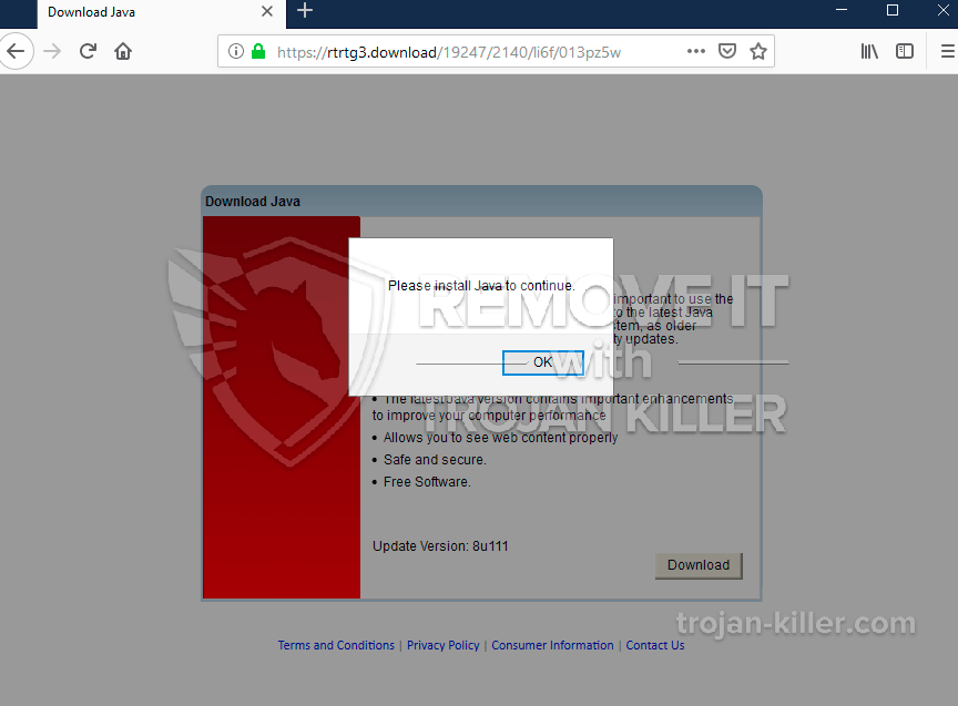 Rtrtg3.download fake Java Update alert removal. - Trojan Killer