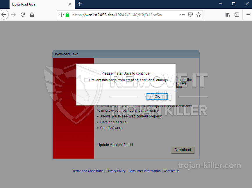 Wzniist2455.site fake Java Update pop-up elimination. - Trojan Killer