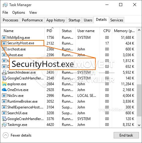 O que é SecurityHost.exe?