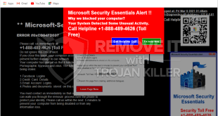 """Alerta do Microsoft Security Essentials"" pop-up golpe (solução de remoção)."