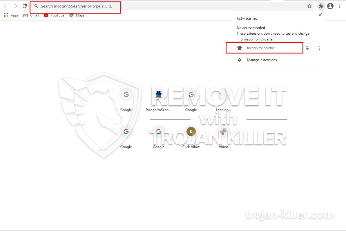 Incognitosearcher.com virus