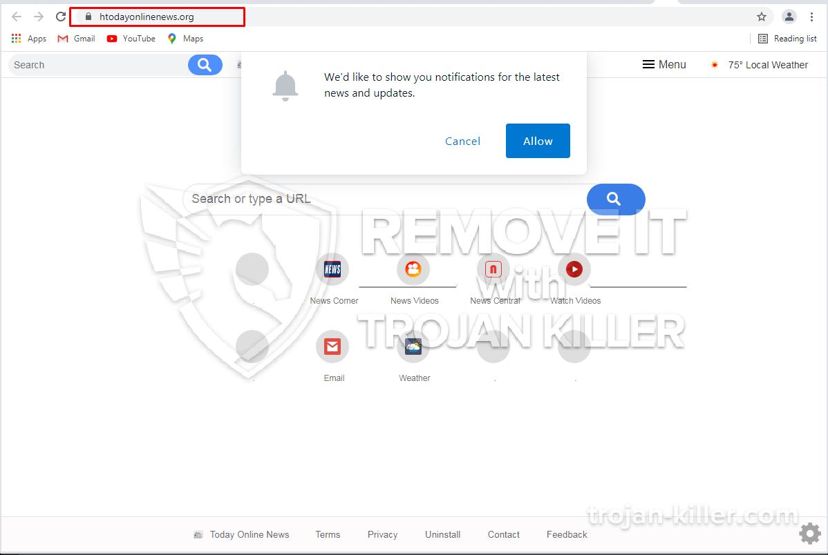 Htodayonlinenews.org virus