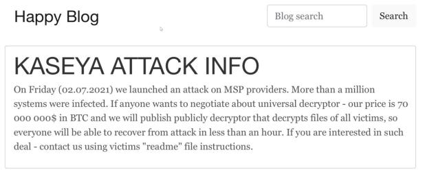 Ataque vil contra Kaseya