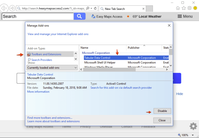 Disabling unwanted add-on in Internet Explorer