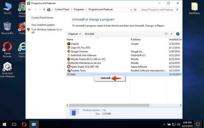 How to uninstall a program in Windows