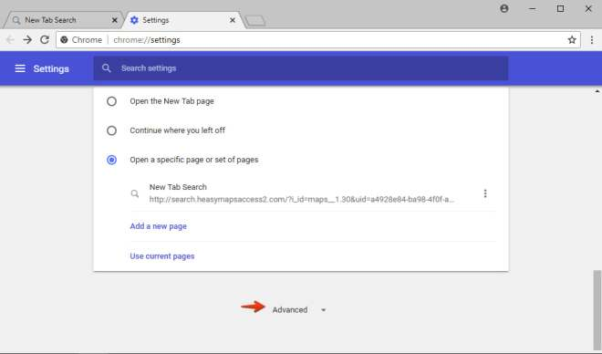 Advanced settings of Google Chrome browser.