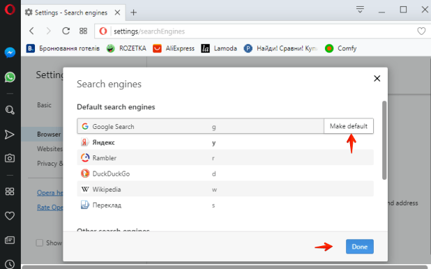 Opera default search selection
