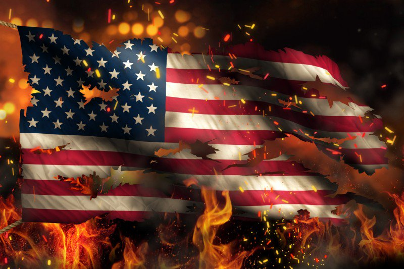 Burning the American flag.