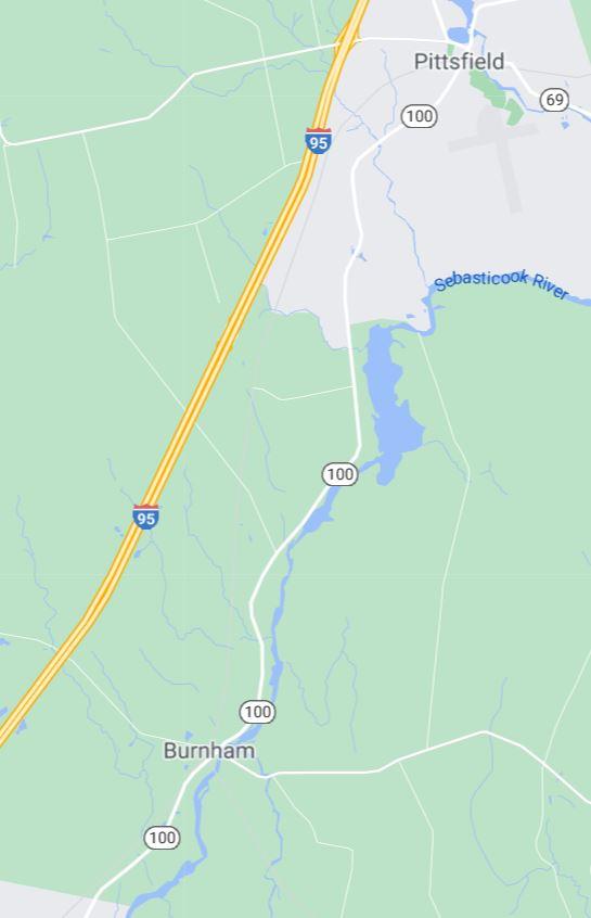 Map of Pittsfield to Burnham Maine