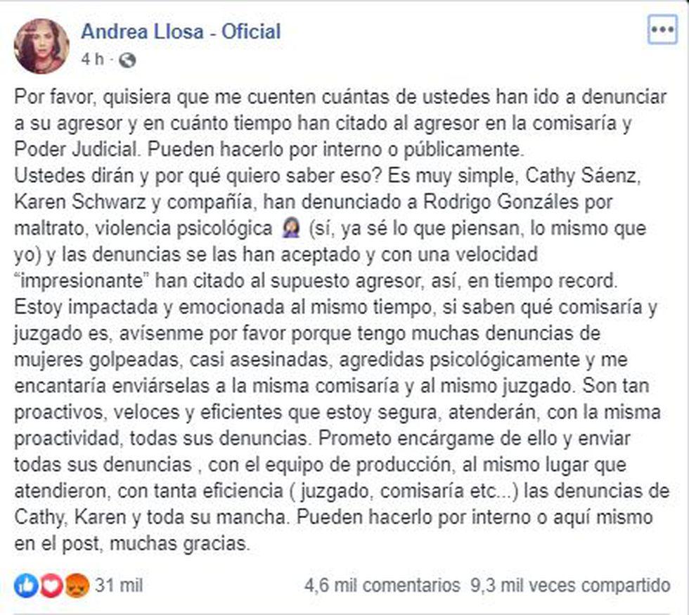 Andrea Llosa sobre denuncias de Rodrigo González | TROME