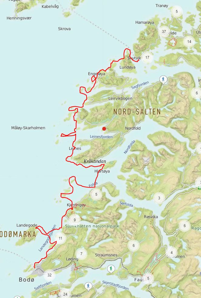 forslag turrute Skutvik-Bodø