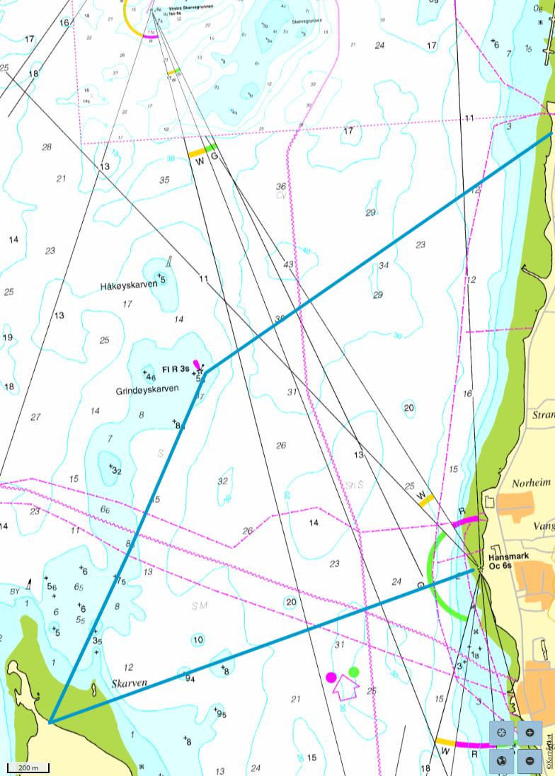 utsnittSjølunden til Grindøya nord