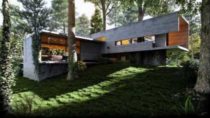 Căn nhà hình chữ nhật này trông như còn khuyết bức tường cuối cùng để ánh sáng dễ dàng tràn vào nhà