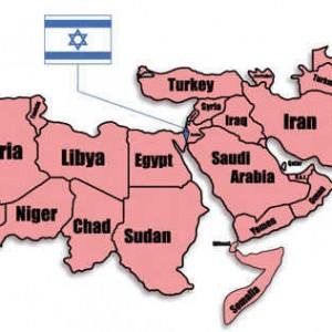 """Israel nằm """"kẹp"""" giữa các quốc gia Ả Rập"""