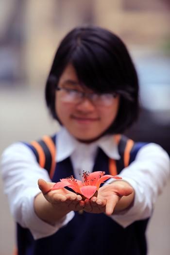 Nhiều bạn trẻ thích thú chụp hình cùng hoa